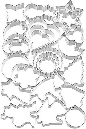 Kaiser Cookie Cutters Juego moldes para Cortar Galletas, Acero Inoxidable, 25 Piezas