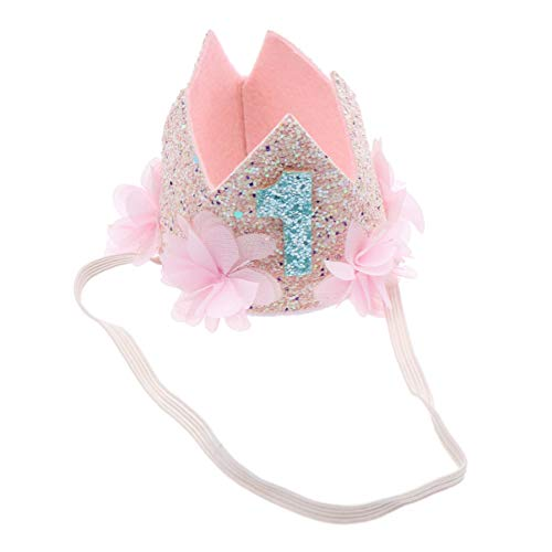 Lurrose Diadema de Corona de Cumpleaños Princesa Corona con Flor de Cumpleaños para Bebé 1 Año