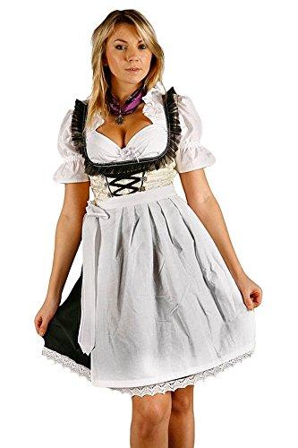 Edelnice Trachtenmode Sexy Mini Dirndl 3-teilig Creme schwarz mit passender Bluse und Schürze Gr 40