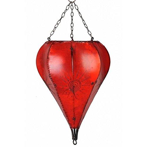 Orientalische Lampe Hängelampe marokkanische Deckenlampe Hänge Leuchte Hennalampe Lederlampe Orient Tropfen Sonne 40 cm Color Rot