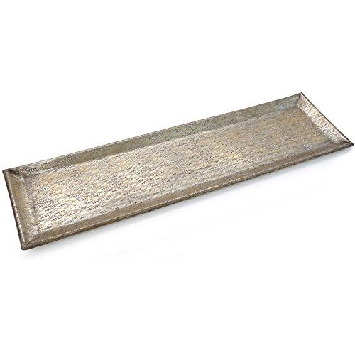 Werner Voss Tablett | Dekoschale Jaipur | Aluminium Gold Messing mit Dekor | 56 cm