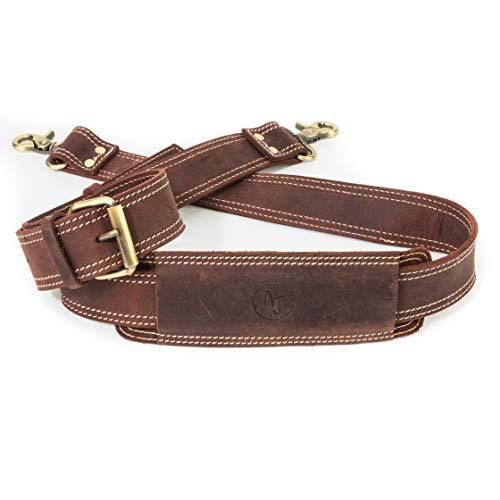 Messenger Bag Strap Replacement | Quality GENUINE COWHIDE Leather Adjustable Shoulder Strap | For Messenger, Laptop, Camera, Travel Bags And More (Dark Brown)