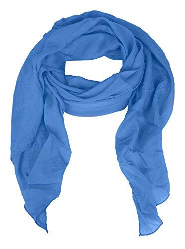 Zwillingsherz Seiden-Tuch für Damen Mädchen Uni Elegantes Accessoire/Baumwolle/Seiden-Schal/Halstuch/Schulter-Tuch oder Umschlagstuch einsetzbar - blau