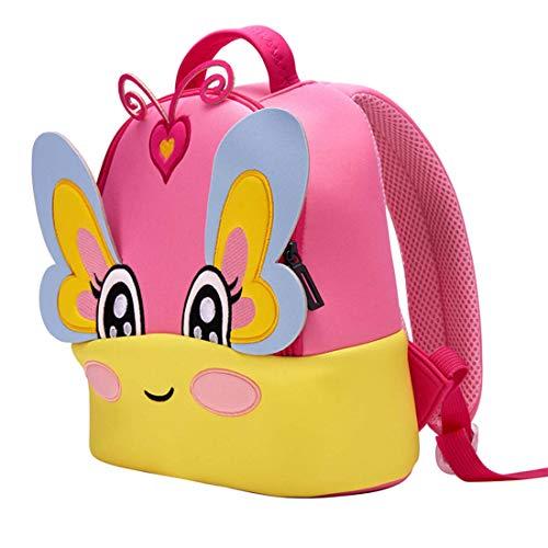 GWELL Süß 3D Babyrucksack Tier Stickerei Kindergartenrucksack Ultraleicht Backpack Schultasche für Kinder Mädchen Jungen Schmetterling