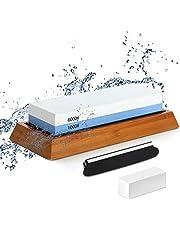 Dubbelzijdige slijpsteen 1000/6000, slijpsteen met hoekgeleiding, correctiestenen, antislip bamboebodem, dubbele grit-natscherper, anti-slip design, beste natte slijper.
