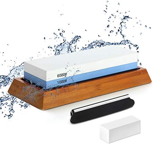 Doppelseitiger Schärfstein 1000/6000, Schleifstein mit Eckführung, Korrekturstein, rutschfester Bambusboden, Dual-Grit-Nassschärfer Anti-Rutsch-Design Bester Nassschärfer.