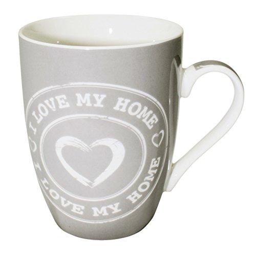 Haus und Deko Kaffeetasse I Love My Home Kaffeebecher mit Herz Porzellan Becher Henkel Tasse Auswahl Grau mit Weiß