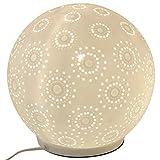 Formano Porzellan-Lampe Kugel Harmonie Blume Tischleuchte Nachttischlampe Nachttischleuchte Stimmungslampe Weiss 18cm