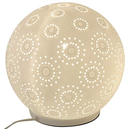 Formano porseleinen lamp bal harmonie bloem tafellamp nachttafellamp nachttafellamp sfeerlamp wit 18cm