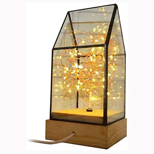 Cabina de Cristal de luz de Noche Lámpara de Fuego Fire Silver Flower Glass Lampshade Cálido Light Post para la decoración del hogar Navidad