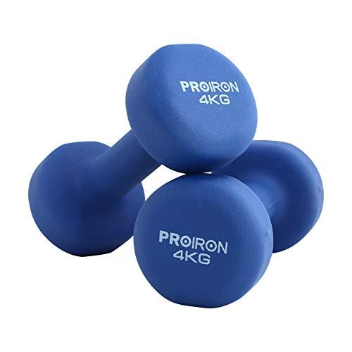 PROIRON Pesi Palestra in Casa Fitness e Palestra Manubri e Pesi Fitness Pesi per Palestra Manubrio (Set di 2) 1-10kg (Blu -2 x 4KG)