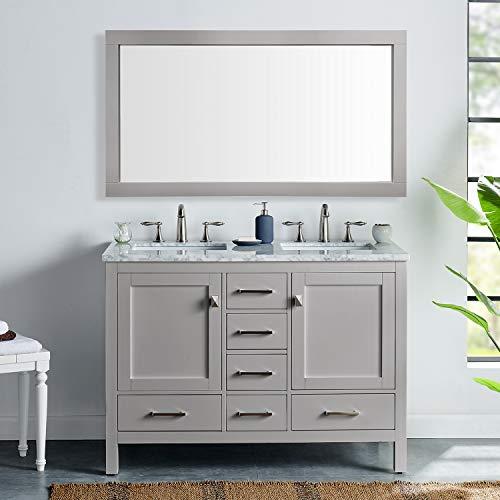 Eviva EVVN412-48GR-DS Aberdeen 48' Transitional Gray White Carrara Countertop and double Sinks bathroom-vanities