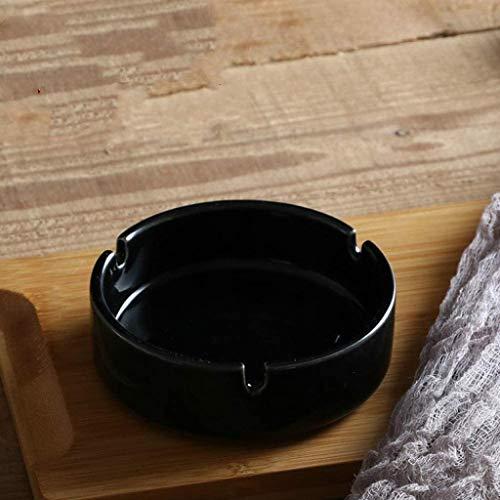 Cenicero de cerámica 86XH blanco puro cenicero cenicero redondo simple cenicero, 10 x 10 x 3,3 cm PinBaiYa (tamaño: 10 x 10 x 3,5 cm)