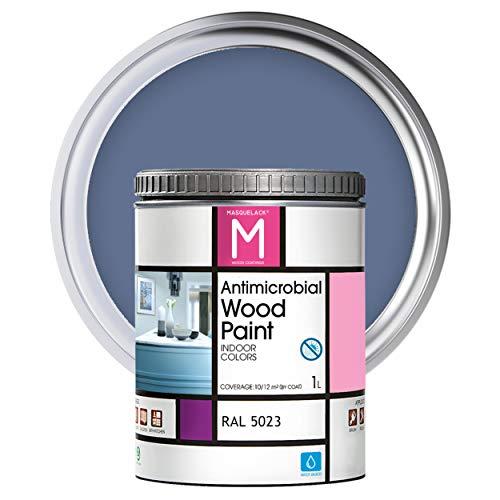 Pintura para Madera | 1 L | Pintura Interior RAL 5023 | Laca para Madera Antimicrobios | Protege y Embellece la Madera de los Muebles | Aspecto Cálido y Satinado | Color Azul lejanía