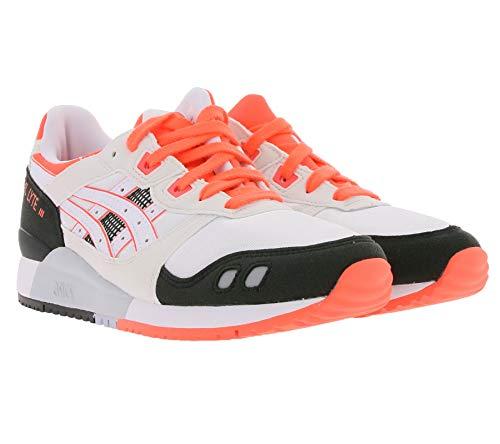 ASICS Gel-Lyte 3 OG - Scarpe da ginnastica da donna, alla moda, con dettagli colorati, colore: Bianco/Nero/Arancione, Bianco (bianco), 36 EU