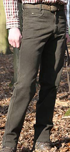 Rascher Loden Stretch Jeans 5-Pocket Outdoorjeans Jagdhose Revierhose Ansitzhose Dunkles grün-braun, Herren, Pirsch, Drückjagd (Gr. 58)