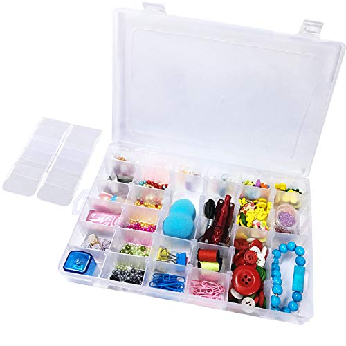 Lasten 36 Grids Clear Plastic Compartment Jewelry Organizer Storage Box with Adjustable Dividers