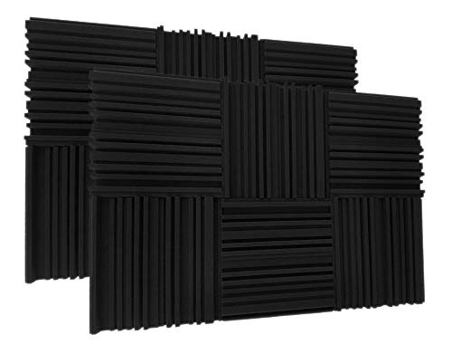 "24 Pack Acoustic Foam Panels 2"" X 12"" X 12"" Acoustic Foam Panels, Studio Wedge Tiles, Sound Panels wedges Soundproof Sound Insulation Absorbing"