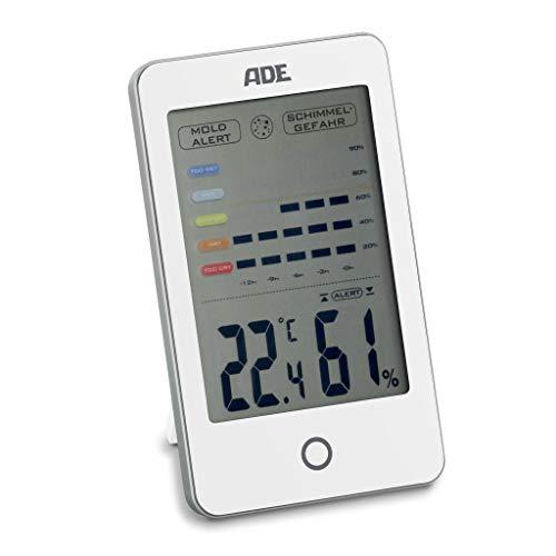 ADE Digitales Hygrometer WS 1700 mit visuellem Schimmelalarm. Thermometer mit präziser Anzeige der Temperatur. Luftfeuchtigkeit mit 12 Stunden-Verlauf. Großes LCD-Display. Inkl. Batterie. Weiß