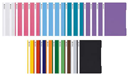 Brunnen Schnellhefter A4 PP-Folie glasklares Deckblatt farbig sortiert (13 Farben + 13er Pastell Set)