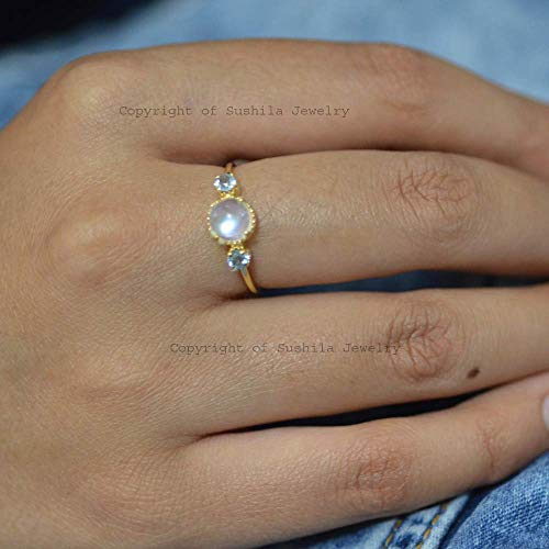 Solid 14k Yellow Gold Natural Blue Topaz & Moonstone Engagement Stacking Band Ring Handmade Fine Gemstone Jewelry -  sushilajewelry