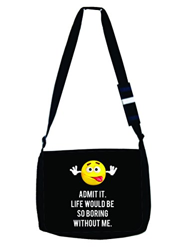 Admit It. - Funny Novelty Quote Expression - Yellow Emoticon - Black Laptop Shoulder Messenger Bag - Girls - Multi-Purpose