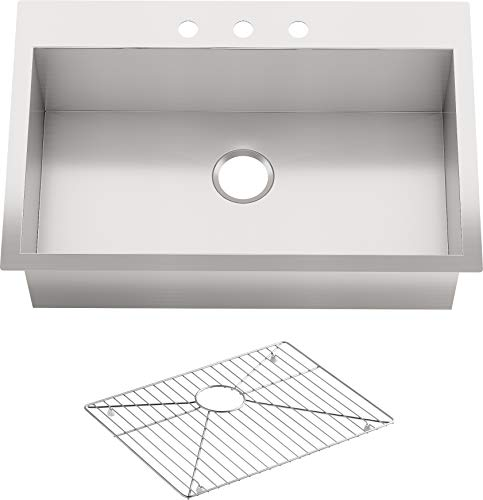 "Vault(TM) 3821-3-NA 33"" x 22"" x 9-5/16"" top-/Under-Mount Large Single-Bowl 3 Faucet Holes Kitchen Sink, One Size"