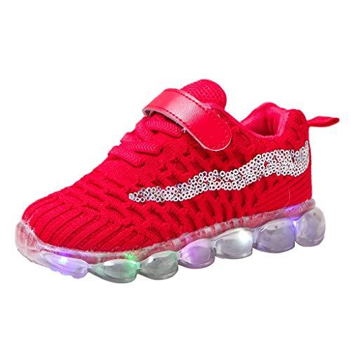 Deloito Kinderschuhe Jungen Freizeit Pailletten Fliegen Gewebe Mesh Sneaker Mädchen LED-Beleuchtung Sportschuhe Komfort Beleuchtung Laufschuhe (Rot,26 EU)