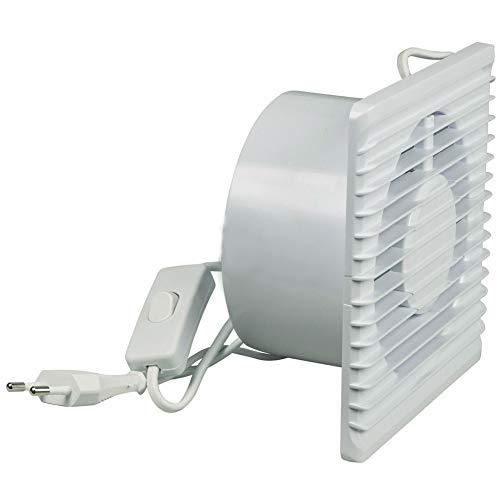 TronicXL Ventilador de pared de 125 mm para baño o cocina, campana extractora con interruptor en el cable