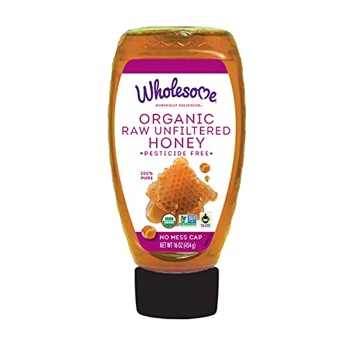 Wholesome Sweeteners Organic Raw Unfiltered Honey, Pesticide Free, Fair Trade, Non GMO & Non Glyphosate, 16 Ounce Squeeze Bottle (Pack of 1) (00280721)
