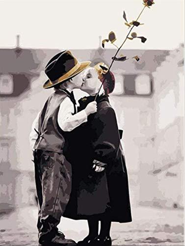 Lienzo de Bricolaje Regalo de óleo pintura alInocencia infantil- (40x50cm) -Marco de madera