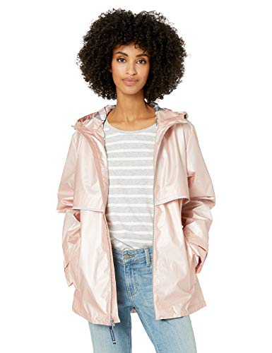 Charles River Apparel womens New Englander Wind & Waterproof Rain Jacket, Rose Gold/Plaid, XL