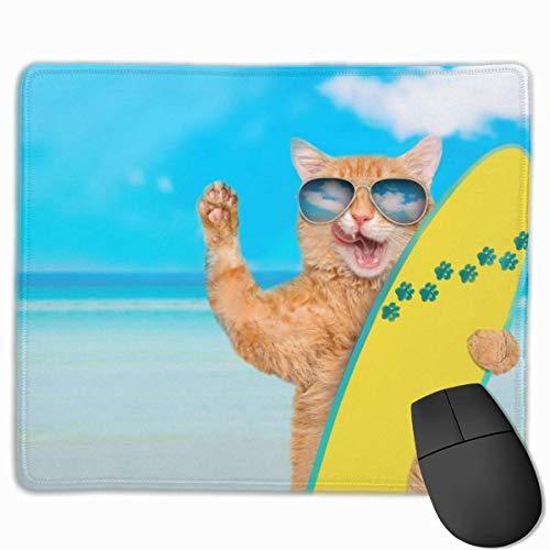 Gaming Mouse Pad Surfer Cat Sonnenbrille Summer Beach Mouse Pads Mat Mousepad mit rutschfestem Gummi für Computer Laptop Office Home