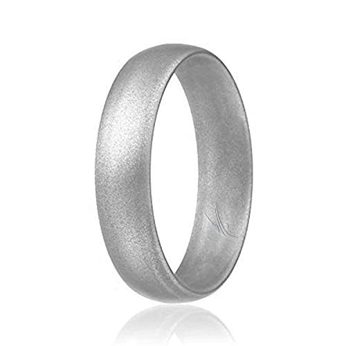 ROQ Silicone Wedding Ring for Women, Affordable Comfort Fit 6mm Love Metallic Silicone Rubber Wedding Bands - Silver - Size 7