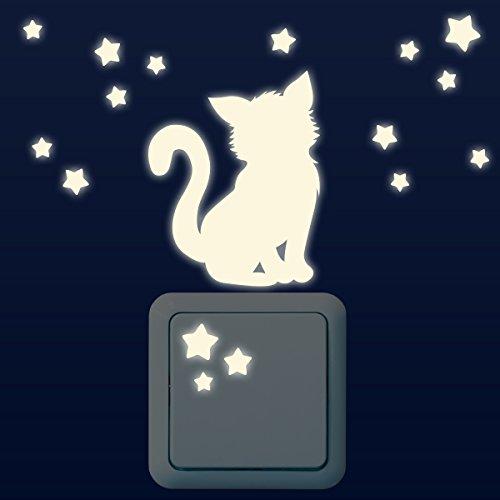 Wandkings Leuchtaufkleber für Lichtschalter / Kätzchen mit 16 Sternen im Set / im Dunkeln leuchtend