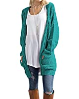 Traleubie Women's Sweaters Open Front Long Sleeve Knit Long Cardigan Aicd Blue S