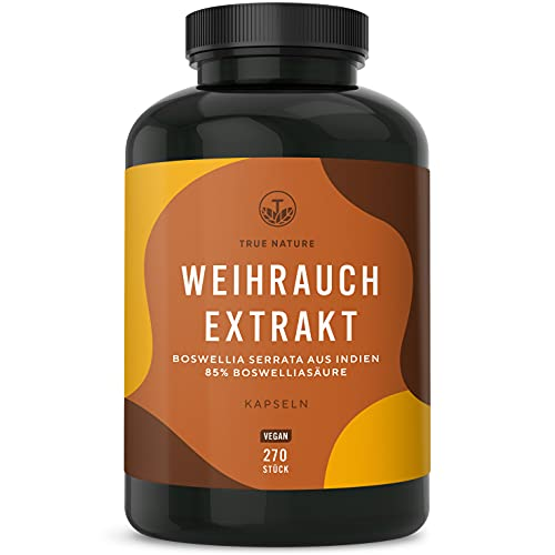 Weihrauch Extrakt (Indischer Boswellia Serrata) - 270 Kapseln (500mg - 85{fab3103f88a34617bad1affef536462fe363ed85a1645833baea399b981e4f67} Boswelliasäure) - Hochdosiert mit 1500mg - Weihrauchkapseln Vegan, Laborgeprüft, Deutsche Produktion - TRUE NATURE®