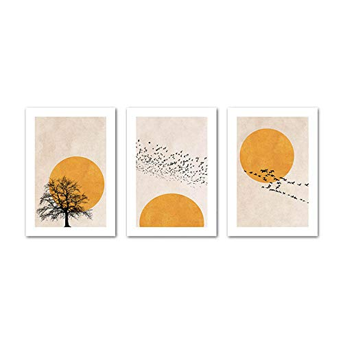 Winter Morning Sun Tree Abstract Poster Nordic Print Scandinavian Wall Art Picture Artwork Canvas Painting Simplicity Home Decor (40x60cmx3 / sin Marco)
