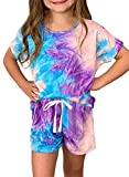 Sidefeel Girls Summer Tie Dye Print T Shirt and Drawstring Shorts Set with Side Pockets Size 6-7 Purple