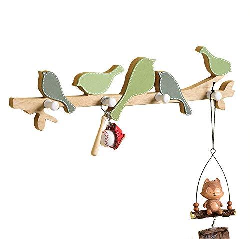Kindergarderobe mit 4 Haken,Wandgarderobe Kleiderhaken, Garderobenhaken Kinderzimmer mit Kleiner Vogel, Wandhaken Kindermöbel (B)