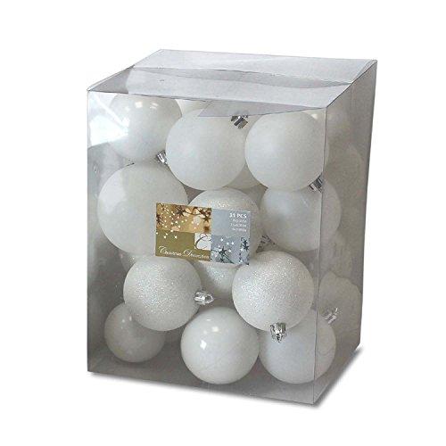 Set di 31 palle di Natale Ø5/6/7cm plastica bianco ornamento per l'albero di Natale decorazione di Natale decorazione per l'abete