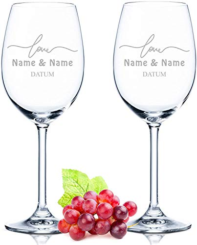 2x Leonardo Weingläser im Simple Love Design graviert mit Namen & Motiv - Geschenk für Paare - Geschenk für Geburtstag, Jahrestag & zur Hochzeit