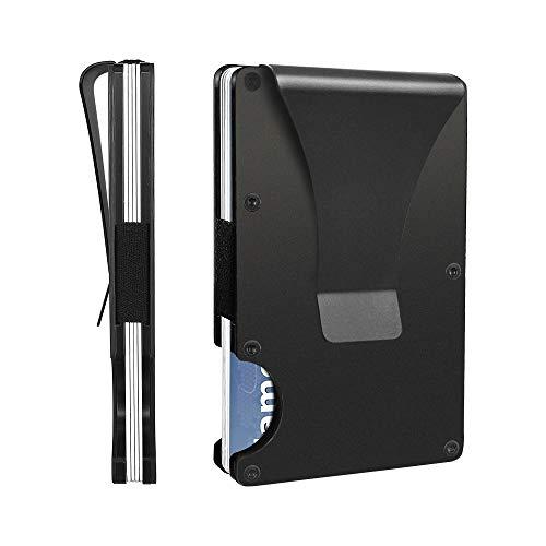 Aluminum Wallets for Men, LOOKISS RFID Minimalist Aluminum Wallet for Men, Money Clip Wallet Metal, Mens Slim Wallet Metal Card Holder (Black)