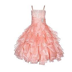 Peach Rhinestone Organza Layer Flower Girl Dresses