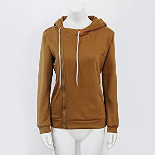 YIBEIANYU Hooded Sweater Coat Solid Color Autumn And Winter Women Long-sleeved Jacket Zipper