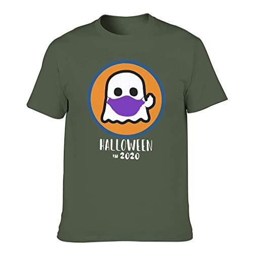 Men's Summer T-Shirt 2020 is Boo Leaf Ghost Halloween Print Fun T-Shirt Shirt,Olive Green,XL