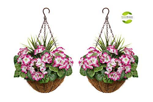 GreenBrokers 2X Artificial Round Coir Hanging Baskets with Purple Geraniums (Set of 2) Fibra geranios morados (2 Unidades), Cestas Colgantes de Coco