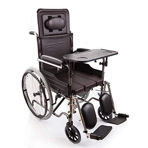 Ligera silla de ruedas manual, Cinturón Plegado Sentado semi-reclinada, plegable de aluminio...