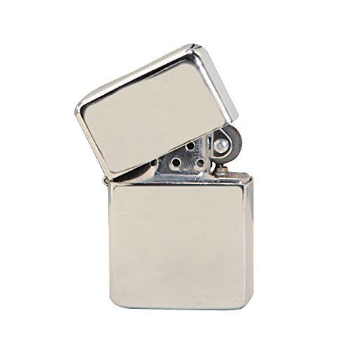 Thirsty Rhino Klik Windproof Refillable Oil Wick Lighter with Vintage Flip Top and Aluminum Gift Case Silver