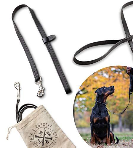 Jack & Russell Premium Leder Hundeleine Charly - Fettleder 1m - Qualität Hunde Leder Leine - Führleine mit Bolzen-Karabiner Charly (Schwarz)